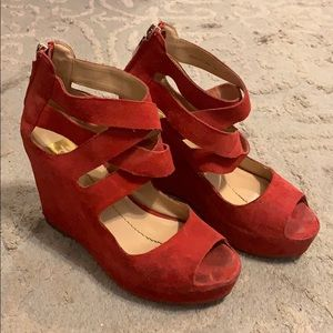Dolce Vita Strappy Red Wedge Heel Suede Size 7